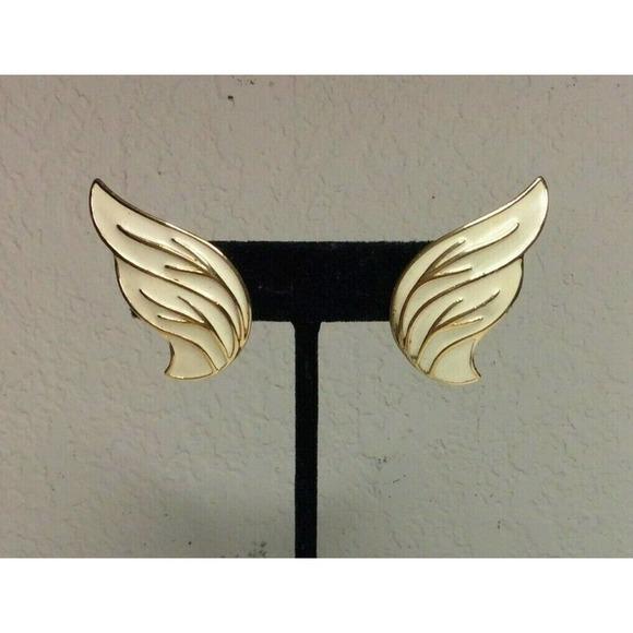 Monet Gold Tone Clip On Earrings Angel Wings